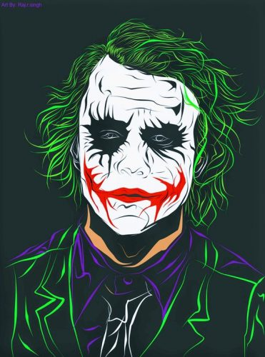 joker heath ledger dark knight caricatura