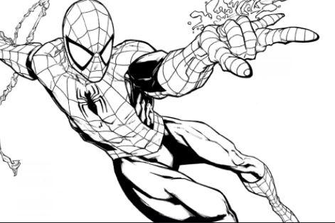 dibujo de spiderman fácil para colorear