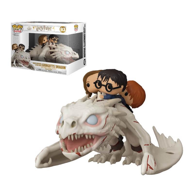Figura Funko Pop! Ride - Harry, Hermione y Ron En Dragón De Gringotts - Harry Potter