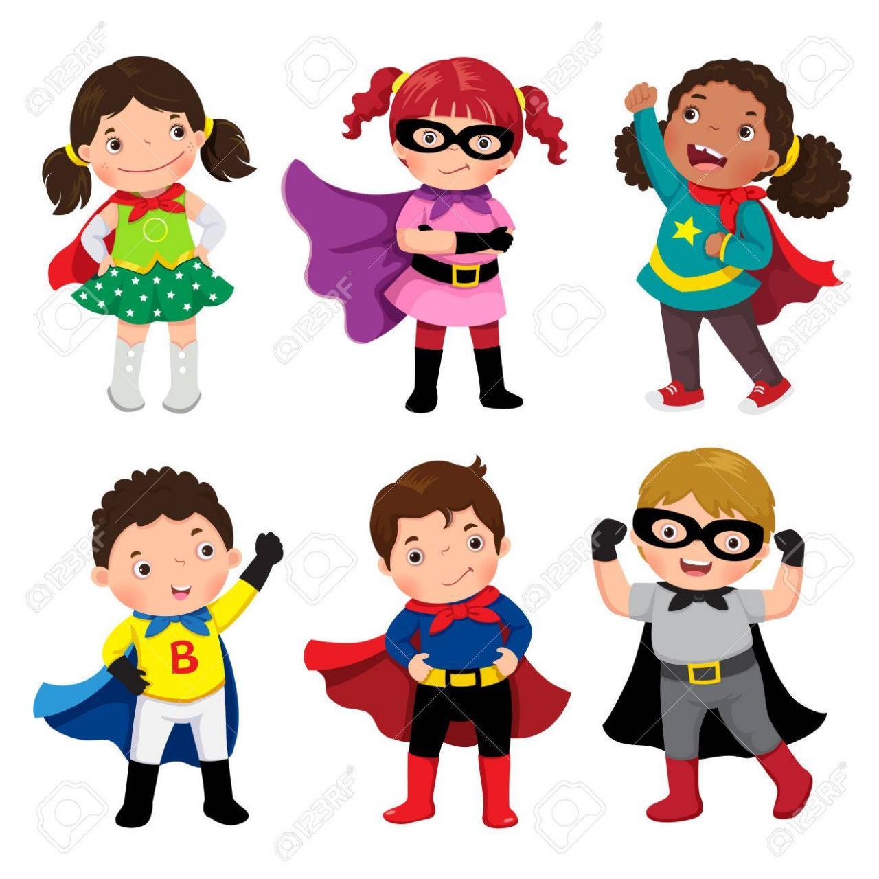 Los Niños Y Las Niñas En Trajes De Superhéroes En El Fondo Blanco ...