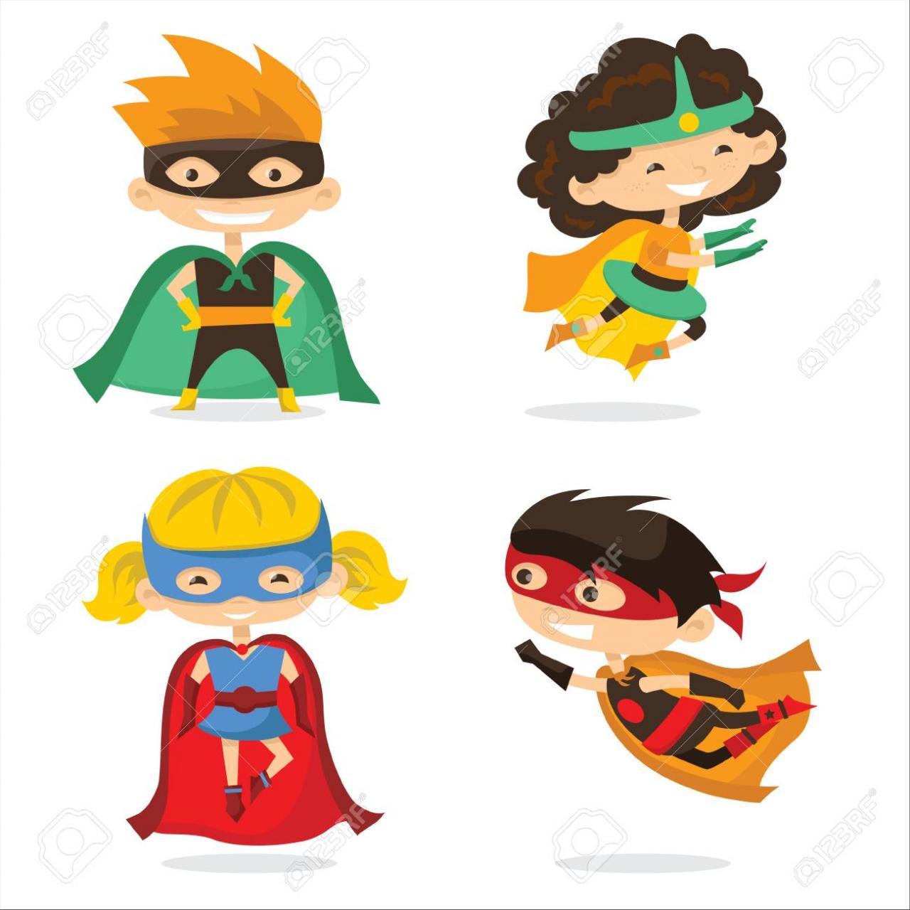 Ilustración De Vector De Dibujos Animados De Niños Superhéroes ...