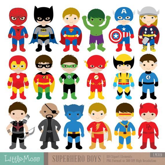 18 niños superhéroes trajes Imágenes Prediseñadas imágenes | Etsy