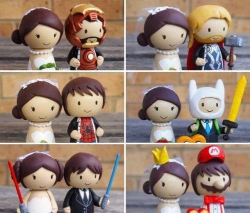 muñecos frikis para tortas de bodas, figuras de tortas para bodas frikis, figuras novios frikis