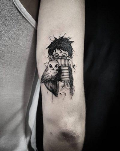 tatuajes frikis pequeños de harry potter, tatuaje friki pequeño harry potter, tatuajes frikis pequeños