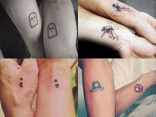 tatuajes frikis pequeños de hermanos, tatuajes frikis pequeños para parejas