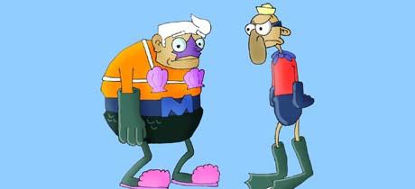Personajes de la serie Bob Esponja: Tritonman y el Chico Percebe
