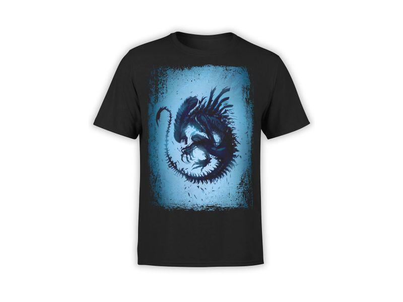 Camisetas Alien azul estampada