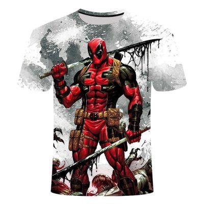 Camisetas Deadpool blanca con musculos