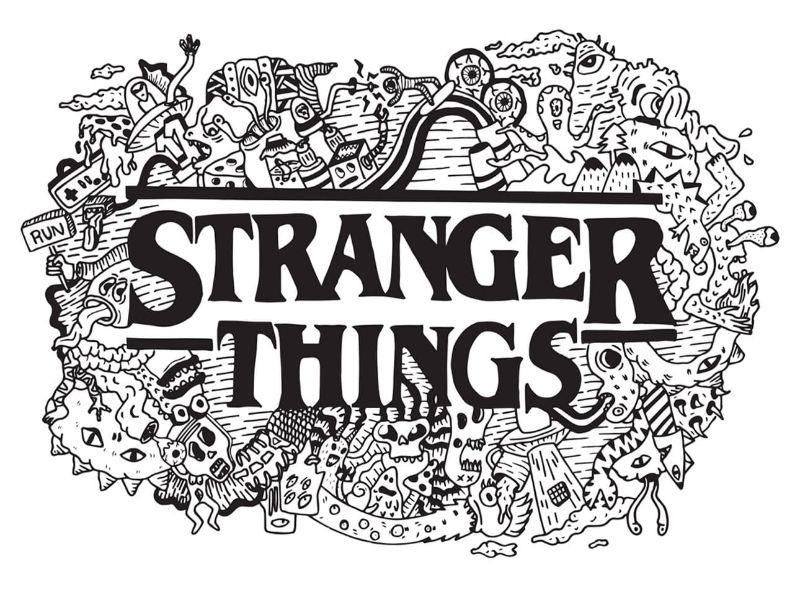 Imágenes y dibujos de stranger things para colorear en blanco y negro