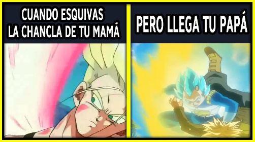 Meme de Dragon Ball con la chancla de la madre