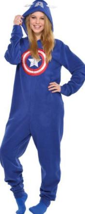 pijamas enteros capitan america para mujeres