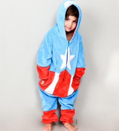 pijamas enteros capitan america para niños y niñas